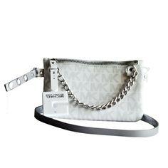 570504c00439 MICHAEL KORS MK Signature Logo Fanny Pack Belt Wallet Gray size XL NWT # MichaelKors #BeltBag