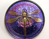 Czech glass dragonfly button