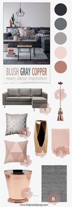 Home Decoration In Hindi Blush Gray Copper Room Decor Inspiration - The Pixel Odyssey.Home Decoration In Hindi Blush Gray Copper Room Decor Inspiration - The Pixel Odyssey My Living Room, Home And Living, Blush And Grey Living Room, Copper Grey Living Room, Blush Grey Copper Bedroom, Clean Living, Copper Dining Room, Copper And Marble Bedroom, Small Living