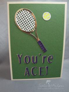 Birthday card made using Marianne Creatables tennis racket die and Crafter's Companion alphabet dies.