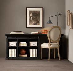 "Restoration hardware Library System 70"" desk Black Oak Drifted"