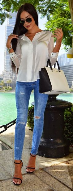 Denim And Silk Casual Chic Style                                                                             Source