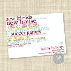 Colorful Wordplay Custom Holiday Photo Card in by MargotMadison