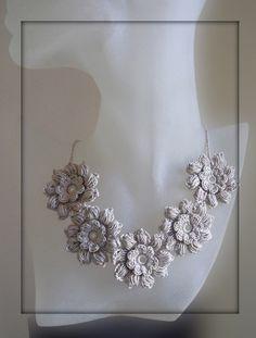 Free form flower  crochet necklace linen color.