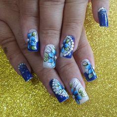 Blue Nails, My Nails, Nail Manicure, Nail Art Tribal, Dot Nail Art, Cherry Nail Art, Nail Polish Style, Bridal Nail Art, Valentine Nail Art