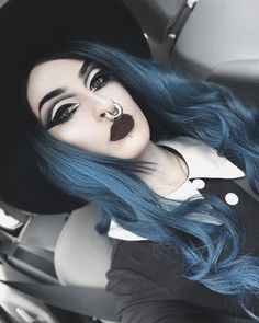 Thank you bb for gettin me this gorgeous wig. I'm totally in love with it 😍🖤 Gothic Makeup, Gothic Beauty, Septum Piercing Girl, Body Mods, Beauty Women, Makeup Looks, Wigs, Hair Makeup, Halloween Face Makeup