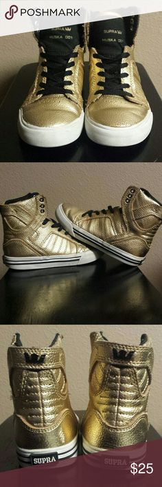 Kids Gold Supra Size 12. High tops. Unisex shoes. In good condition! Supra Shoes Sneakers