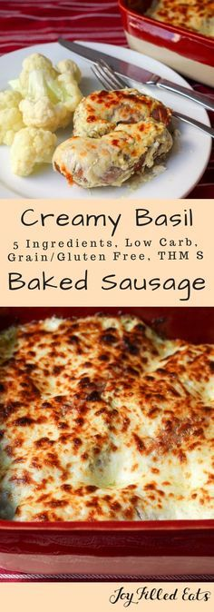 Creamy Basil Baked Sausage - 5 Ingredients, Low Carb, Grain Gluten Free, THM S, keto - If you need an easy dinner idea my Creamy Basil Baked Sausage should be it. With only 5 ingredients & a 5 minute prep time, it is great for busy nights.