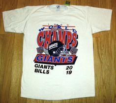 Items similar to Vintage 90s T-Shirt NY GIANTS 1990 Super Bowl Champions vs  Buffalo Bills Sz L on Etsy 294afbc27