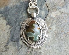 Ocean Jasper Necklace in Fine and Sterling Silver. Designer Cabochon Jewelry for Charity.