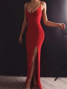 Sheath V Neck Spaghetti Straps Red Elastic Satin Long Prom Dresses Prom Dress V-neck V Neck Prom Dress Long Prom Dress Prom Dress Red Prom Dress Prom Dresses Long V Neck Prom Dresses, Mermaid Prom Dresses, Sexy Dresses, Red Mermaid Dress, Classy Prom Dresses, Red Ball Dresses, Prom Dresses With Slits, Prom Dreses, Ball Gowns