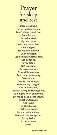Let this prayer for sleep and rest inspire you to seek comfort in the Lord. True rest comes from learning to trust God. If we rely on our circumstances to give us peace, we can never sleep soundly. Instead, let the love and forgiveness of Christ bring cal Prayer Scriptures, Bible Prayers, Faith Prayer, Prayer Quotes, My Prayer, Bible Quotes, Night Prayer, Prayer Room, Prayer For Wisdom