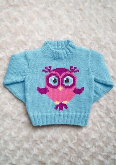 Intarsia - Rose the Owl Chart - Childrens Sweater Knitting pattern by Instarsia This is my basic children's sweater pattern with a Girly Owl on the front. I have a made few owl charts already but really wanted a girly looking owl to Sweater Knitting Patterns, Arm Knitting, Knitting Charts, Intarsia Knitting, Knit Patterns, Pixel Crochet Blanket, Crochet Blankets, Knit Baby Sweaters, Crochet Patterns For Beginners