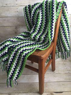 "Seattle Seahawks Colors Inspired Handmade Crochet Afghan Blue Green White 48"" x 36"" Football Stadium Game Day Blanket Throw GO HAWKS! by kitchenklutter on Etsy"