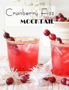 Cranberry Fizz Mocktail- 3 ounces of sparkling cider or ginger ale, 3 ounces of cran-apple juice, splash of lemon or lime juice