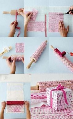 Cute wrapping paper, stamped with a rolling pin and some plastic lace. I must be pinning this for the 1000 time, must try this one day!