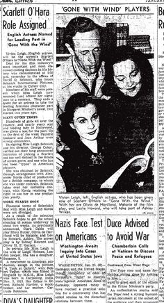 Newspaper announcement for Gone With The Wind movie role assignments. Vivien Leigh, Leslie Howard and Olivia de Havilland Leslie Howard, Streetcar Named Desire, Margaret Mitchell, Watch The Originals, Tomorrow Is Another Day, Olivia De Havilland, Vivien Leigh, Gone With The Wind, Historical Romance