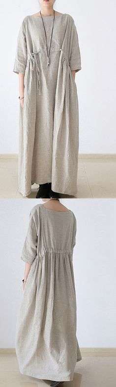 2017 autumn plus size linen bracelet sleeved drawstring maxi dress