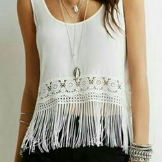 > Black  Fringe Top Used, as is, good condition, NOT FREEPEOPLE, F21 brand Free People Tops