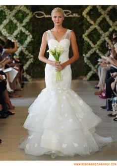 Robe de mariage blanche 2013 sirène bretelles col en V appliques organza