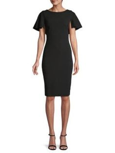 Calvin Klein Collection Ruffle Cape Sheath Dress In Black Calvin Klein Collection, Model Show, World Of Fashion, Sheath Dress, Cap Sleeves, Dress Outfits, Cape, Dresses For Work, Clothes For Women