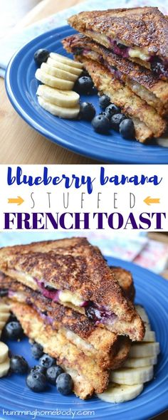 SO SIMPLE and SO GOOD! Crispy, crunchy french toast stuffed with cream cheese, honey, banana, and blueberries. Perfect for breakfast or brunch.