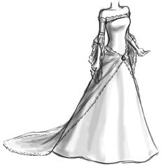 Dessiner une robe de mariée Wedding Dress Sketches, Dress Design Sketches, Art Drawings Sketches Simple, Fashion Design Drawings, Dress Designs, Fashion Illustration Sketches, Fashion Sketches, Princess Sketches, Fashion Drawing Tutorial