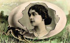 Fancy Lina Cavalieri Easter Fantasy Egg by Reutlinger Art Nouveau Photomontage Opera Star Kitsch Original 1900s Rare Photo Postcard