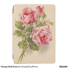 Shop Vintage Pink Roses iPad Air Cover created by VintageFloralPrints. Vintage Pink, Vintage Roses, Pink Garden, Garden Roses, Dishwasher Cover, Ipad Air, Custom Mouse Pads, Pink Roses, Christmas Card Holders
