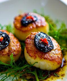 black garlic + scallops Have you tried Black Fermented Garlic? OMG. So delicious! --K
