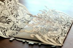Gold Laser-Cut Wedding Invitations   ... gold lace wrapped wedding invitation unique and special # gold
