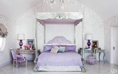 The shimmer of mirrored furniture makes this glamorous lavender bedroom so inviting Dream Bedroom, Home Bedroom, Bedroom Decor, Master Bedroom, Pretty Bedroom, Kids Bedroom, Bedroom Ideas, House Of Turquoise, Sharon Osbourne