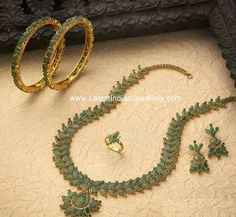 Emerald Haram Bangles and Ring Set - Latest Indian Jewellery Designs Ruby Necklace Designs, Emerald Jewelry, Gold Jewelry, Emerald Necklace, Gold Bangles, Gold Jewellery Design, Antic Jewellery, Ring Set, Indian Jewelry