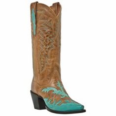 Wynona Cowboy Boots Saddle Tan with Teal Overlay