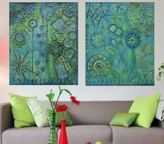 2 Acrylic Painting Panels  Original Abstract by PattyEvansArt, $299.00