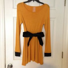 ☃ Mustard Yellow Dress BLACK FRIDAY SALE ENDS SATURDAYMustard Yellow Dress with Faux Leather belt attached and faux leather cuff on sleeves. Dresses Mini
