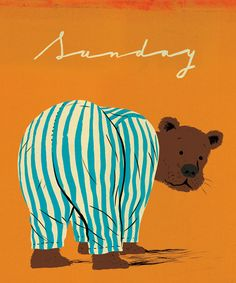 9*16*12 Not sure what this bear in pajamas has to do with Sunday but since it's cute, I'm going with it. Typical Sunday for the most part, Post Secret, CBS Sunday Morning, newspaper, Goodwill, Wal*Mart for groceries, sammies for lunch.