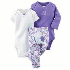 Conjunto Carter's 3 Peças Coruja Bordada Tam. 9 meses (CÒD:121D6189) - 9 meses - Bebê menina