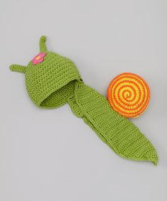 Loving this Bébé Oh La La Green Snail with Flower Beanie on #zulily! #zulilyfinds