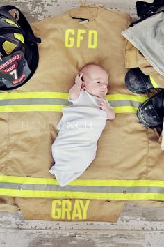 Dan would definitely have to clean his bunker gear before I would let this happen, but SO adorable!