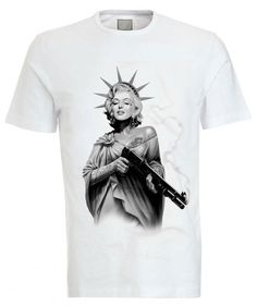 Iconic Marilyn Monroe Statue of liberty crew Neck Tee by GWDIRECT