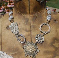 Rhinestone Brooch Necklace Art Deco Dress Clip Repurposed Vintage Assemblage Statement Choker. $115.00, via Etsy.