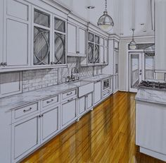 The Kitchen Design Studio of Glen Ellyn did a fantastic job with the design of this galley style kitchen Interior Architecture Drawing, Interior Design Renderings, Interior Design Career, Interior Design Presentation, Drawing Interior, Interior Design Website, Interior Rendering, Interior Sketch, Modern Interior Design