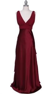 Pleated Satin Empire Waist Evening Dress With Front And Back V Neckline