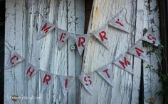 Merry Christmas Burlap Banner  Red and White  by loveinamasonjar, $30.00