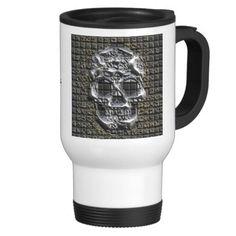 MetalArt Skull 15 Oz Stainless Steel Travel Mug Stainless Steel Travel Mug, Tumbler, Promotion, Skull, Articles, Tea, Mugs, Coffee, Tableware