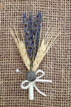 Handmade Wedding Corsages - lavender, blond wheat, white twine, button, country rustic