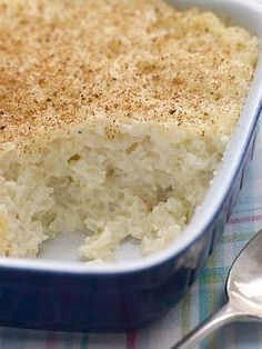 BAKED RICE PUDDING   3 eggs  3 c. milk  3/4 c. sugar  1 tsp. vanilla extract  1/4 tsp. salt  2 c. cooked rice  3 tbsp. butter  1 tsp. ground cinnamon    Preheat oven to 350 degrees. In a large bowl, beat the eggs until frothy. Add the milk, sugar, vanilla, and salt, beating until sugar dissolves. Add rice and stir to blend. Pour the mixture into a buttered 2 quart baking dish. Dot with the butter and dust with cinnamon. Bake until a knife blade inserted comes out clean, about 45 minutes.