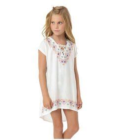 Loving this White Embroidered Zoey Hi-Low Dress - Tween on #zulily! #zulilyfinds