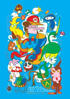Nintendo characters - Jon Burgerman